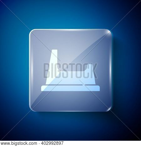 White Baby Potty Icon Isolated On Blue Background. Chamber Pot. Square Glass Panels. Vector