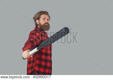 Baseball. Bearded Man With Baseball Bat. Baseball Game. Sport Bat. Sport Equipment. Baseball Player.