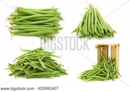 Bunch of green beans and some in a wooden box on a white background
