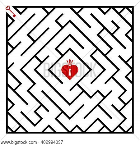Labyrinth Puzzle Game, Heart Shaped Padlock, Crown On Top, Red Key, Black Oblique Line. Idea Design