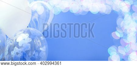 Blue And White Balloons With Helium On A Blue Background With Bokeh Lights, Banner Frame With Copy S