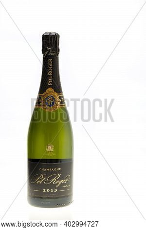 Beautiful View Champagne Bottle  Pol Roger Isolated On White Background.  Alcohol Concept. 01.12.202