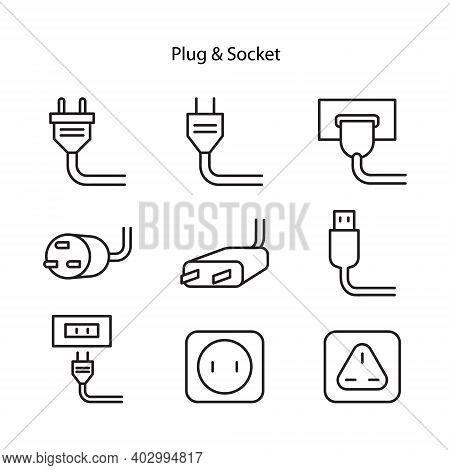 Set Of Electric Plug And Socket Disconnect. Concept Of 404 Error Connection. Electric Plug And Outle