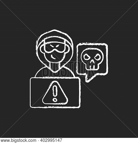 Cyberstalking Chalk White Icon On Black Background. Stalking Online From Anonymous Person. Online Ha