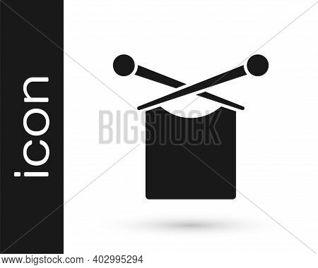 Black Knitting Icon Isolated On White Background. Wool Emblem With Knitted Fabric And Needle. Label
