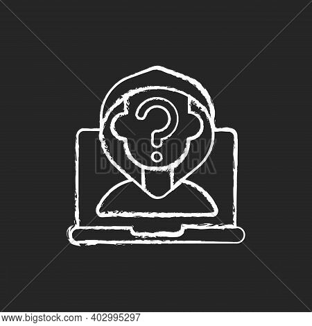 Anonymous Cyberbullying Chalk White Icon On Black Background. Cyberharassment Anonymity. Social Medi