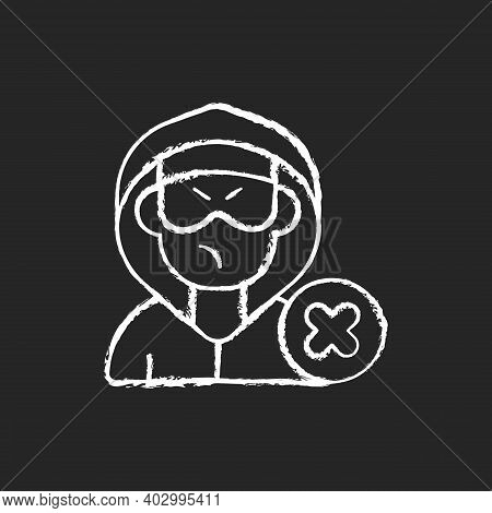 Block Or Mute Harasser Chalk White Icon On Black Background. Ban Internet Troll. Cyberbullying And C