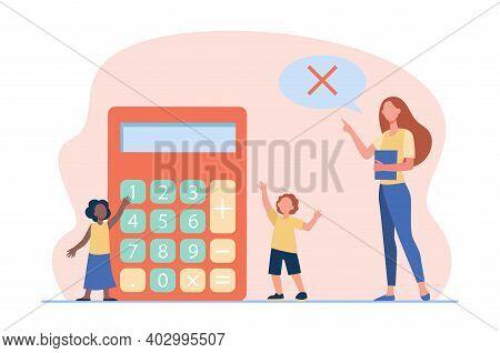 Math Teacher Forbidding To Use Calculator. Teaching, Prohibition Sign In Speech Bubble, Kids. Flat V