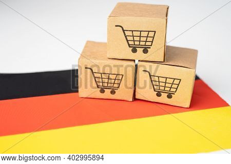Box With Shopping Cart Logo And Germany Flag, Import Export Shopping Online Or Ecommerce Finance Del