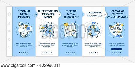 Media Knowledgeability Elements Onboarding Vector Template. Decoding Media Message. Recognizing Cont