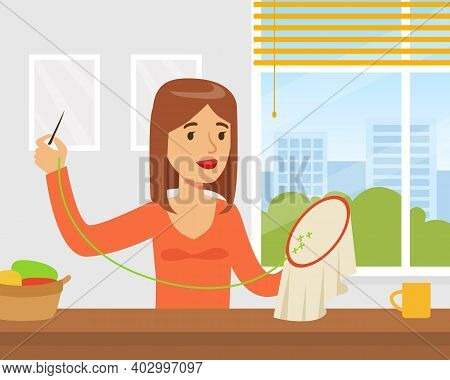 Young Woman Embroidering On Canvas, Creative Handicraft Hobby Cartoon Vector Illustration
