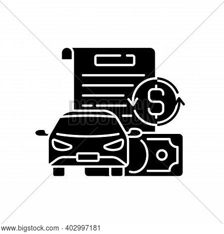 Vehicle Title Loan Black Glyph Icon. Placing Lien On Car Title. Borrowers Outstanding Debt Repayment