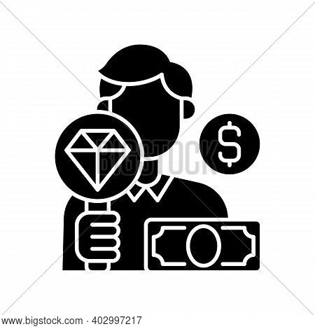 Pawnbroker Black Glyph Icon. Lending Money In Exchange For Personal Property. Pledge And Pawn. Offer
