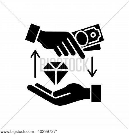 Money Loan Black Glyph Icon. Borrowing Cash. Financial Aid. Lending Money At Interest. Receiving Fun