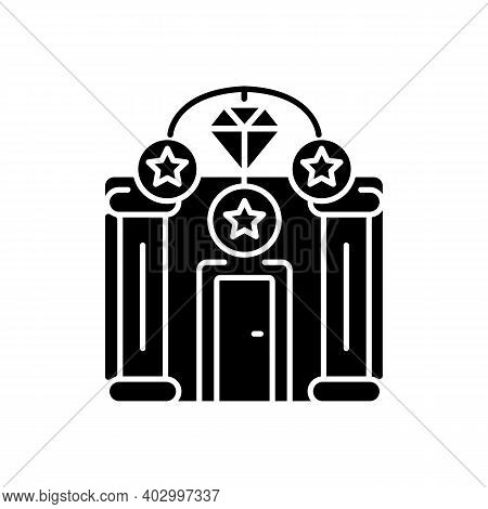 Upscale Pawnshops Black Glyph Icon. Loan Offices. High-end Collateral Lender. Prestige Pawnbrokers.
