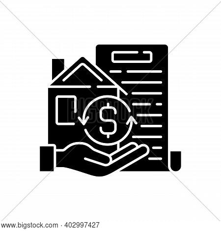 Collateral Black Glyph Icon. Security For Loan Repayment. Real Estate, Assets Form. Valuable Propert