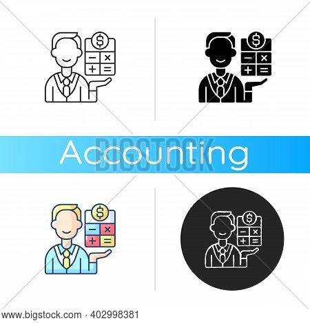 Bookkeeper Icon. Responsible Person For Recording And Maintaining All Business And Company Financial