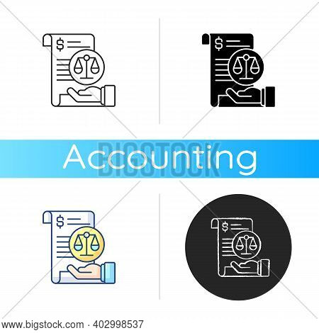 Balance Sheet Icon. Financial Statement That Reports About Company Money Assets And Business Shareho