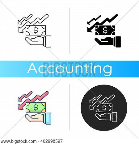 Depreciation Icon. Accounting Method Of Allocating Cost Of Different Assets Over Its Useful Life Or