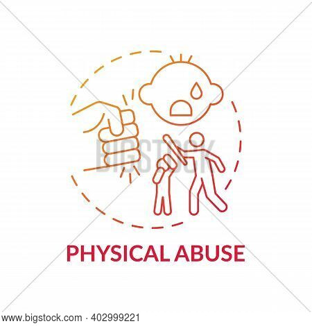 Physical Abuse Red Gradient Concept Icon. Parent Hit Kid. Physical Violence At Home. Harm To Childre