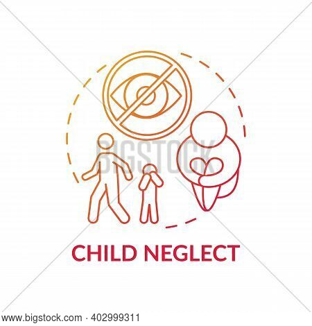 Child Neglect Red Gradient Concept Icon. Kid Mistreatment. Poverty Problem. Parental Negligence. Chi