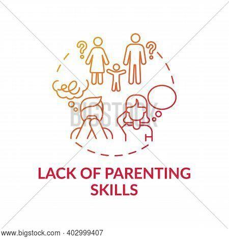 Lack Of Parenting Skills Red Gradient Concept Icon. Problem With Raising Children. Kid Abuse. Parent