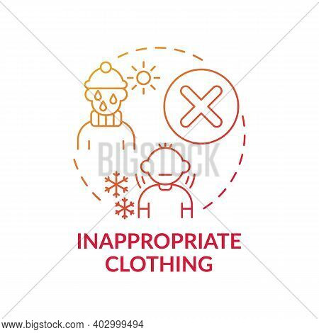 Inappropriate Clothing Red Gradient Concept Icon. Sign Of Parental Neglect. Damage To Kids Health, W