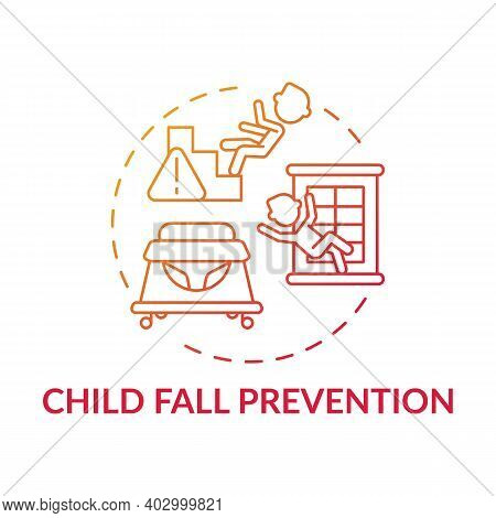 Child Fall Prevention Red Gradient Concept Icon. Kid Trauma And Injury Precaution. Children Protecti