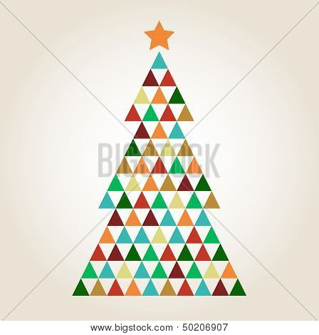 Merry Christmas Colorful Mosaic Tree Isolated On Beige Background