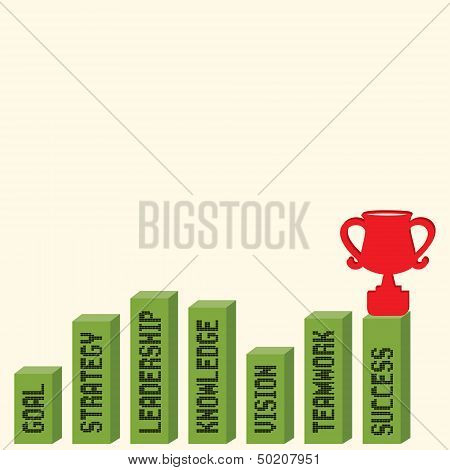 Business graph with business text and trophy