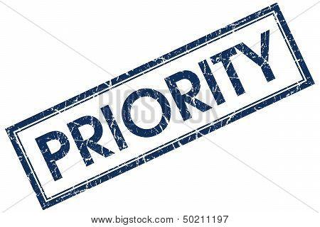 Priority Blue Rectangular Stamp