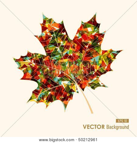 Colorful Leaf With Triangles Inside. Autumn Background. Eps10 File.