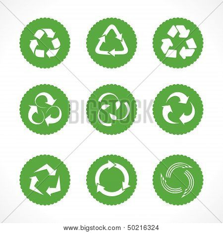 Set of recycle symbols and icons