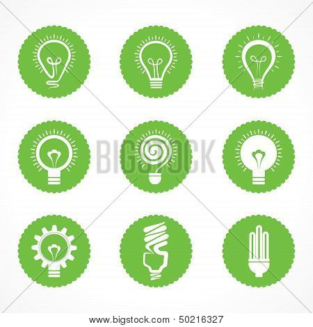 Set of eco bulb symbols and icons