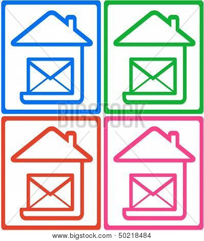 set colorful icon - symbol mail delivery