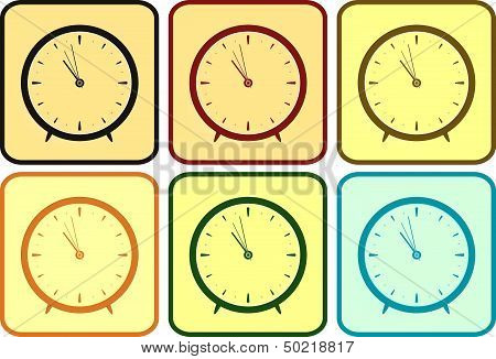 set colorful clock