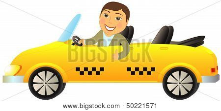 taxi cabriolet with man showing thumb up