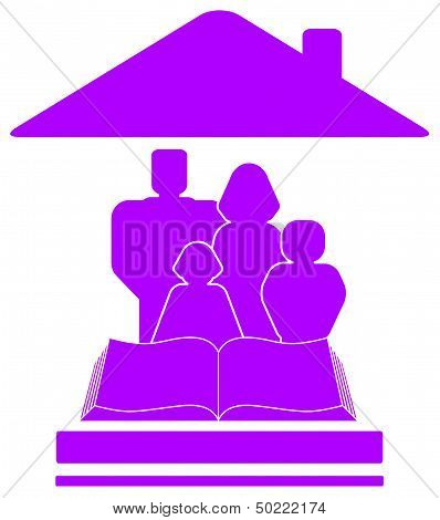 icon with family, book and house