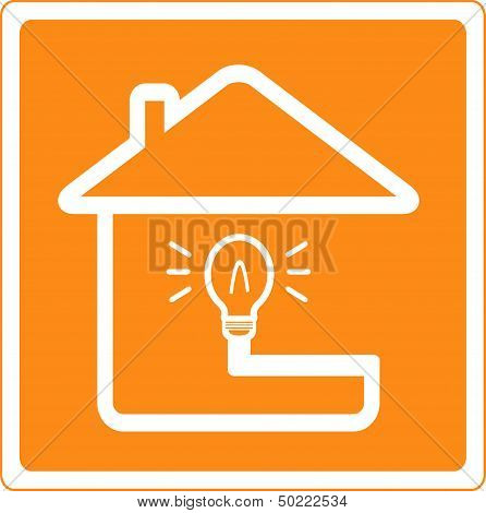 house and bulb silhouette