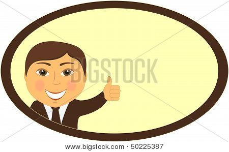 man smile and showing thumb up