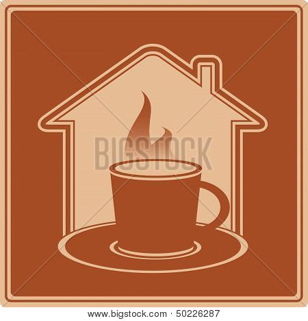 house silhouette and cup with hot beverage
