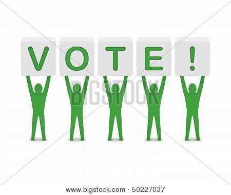Men holding the word vote. Concept 3D illustration.
