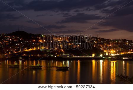 Zonguldak City And Port At Night