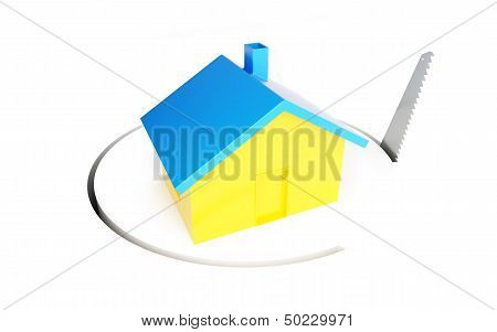 Saw Home 3D Illustrations On A White Background