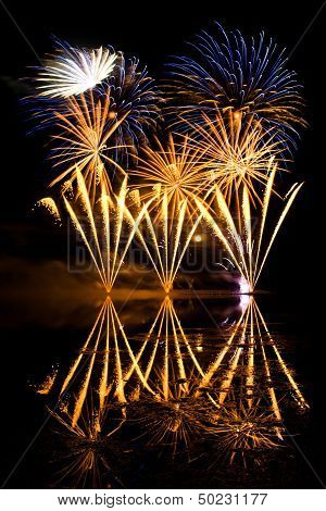 Golden And Blue Fireworks