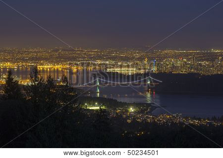 Vancouver Bc Cityscape At Blue Hour
