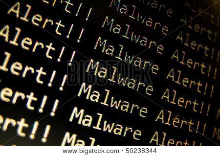 malware alert in text with black background poster