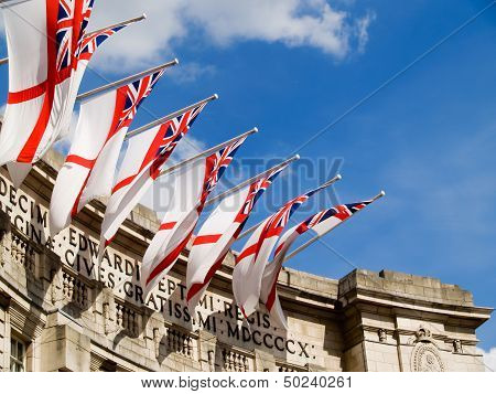 Flags over Admiralty Arch.