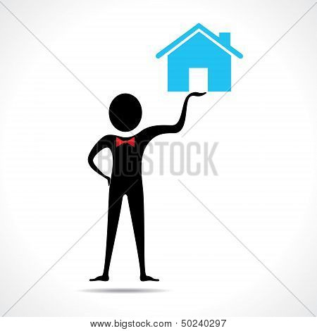 Man holding a home icon