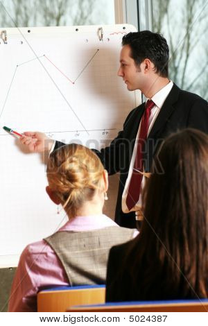 Businesspeople And A Flipchart